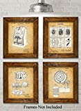 Original Gambling Patent Art Prints - Set of Four Photos (8x10) Unframed - Great Gift for Gambling Lovers or Man Caves