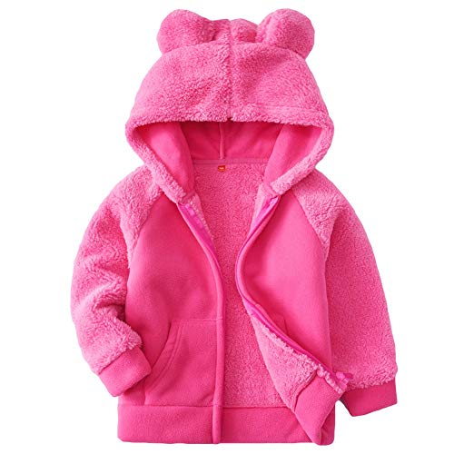(Goodkids Bear Ears Shape Fleece Warm Hoodies Clothes Toddler Zip-up Light Jacket Sweatshirt Outwear for Baby Boys Girls (Rose 90))