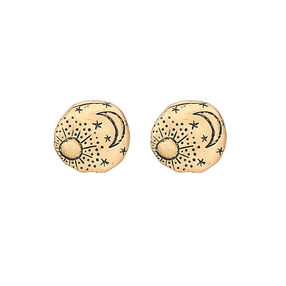 CHOA Vintage Moon Star Earth Planet Stud Earrings for Girls