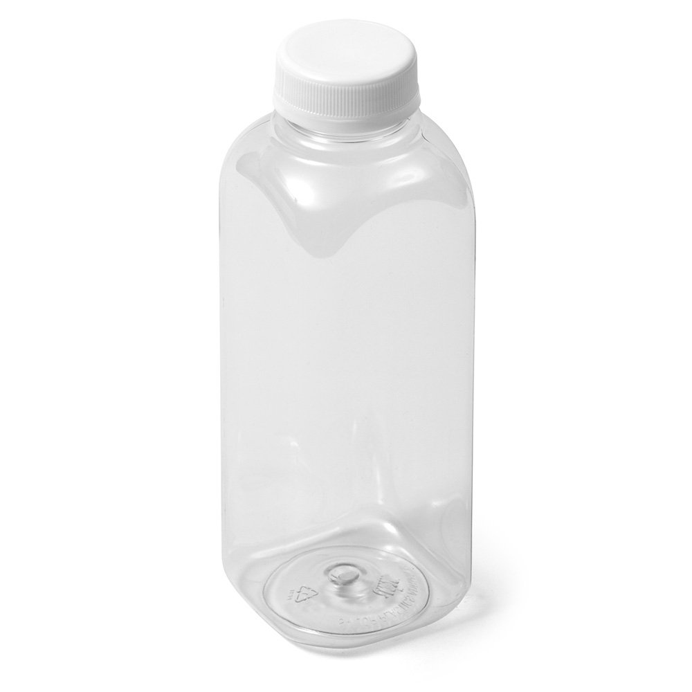 Clear Square IPEC PET Bottle - 16 fl oz - White IPEC Cap by Sailor Plastics