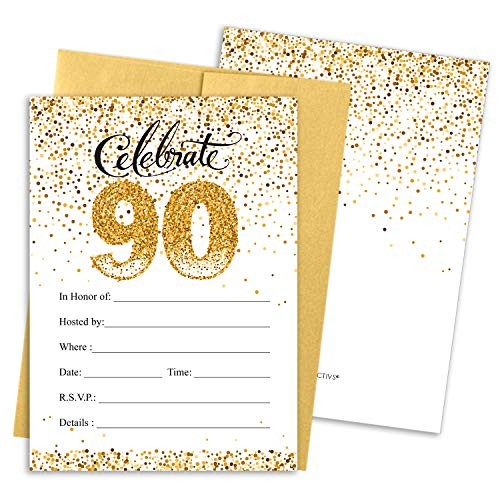 White and Gold 90th Birthday Party Invitations | 10 Cards with Envelopes -