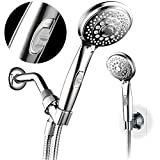 HotelSpa 7-setting AquaCare Series Spiral Handheld Shower Head Luxury Convenience Package with Pause Switch, Extra-long Hose PLUS Extra Low-Reach BracketStainless Steel Hose - All-Chrome Finish,