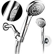 HotelSpa 7-setting AquaCare Series Spiral Handheld Shower Head Luxury Convenience Package with Pause Switch, Extra-long Hose PLUS Extra Low-Reach Bracket