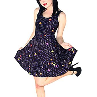 TRENDY STYLISH Women Pacman Retro Gamer Girl Geek Friki Skater Dress