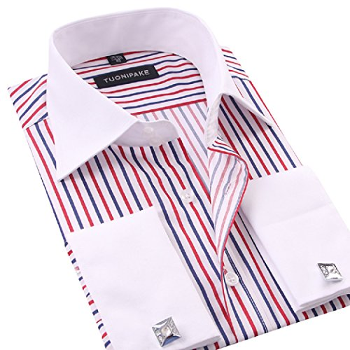 sweattang New Mens Double Cuff Striped Formal Dress Italian Designer Casual Luxury Shirts (Red-Strip, (Double Cuff Shirt)