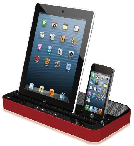 Ipega Speaker and Charger Dock Docking 2 in 1 Stand Mount Cradle Multi-function Docking Station with Dual Charger Adapter for Iphone 5/4/4s,ipad 2/3/4/ipad Mini, Samsung S3 Samsung S4, Mp3, Mp4 Device Red