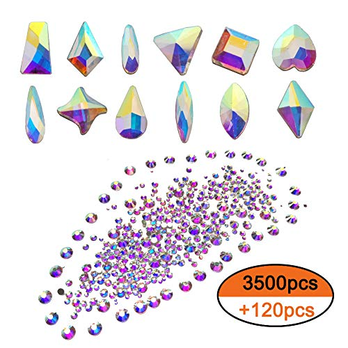 Queenme Rhinestones for Nails Flatback Crystals 3500pcs Round AB Gems & 120pcs Multi-Shape AB Glass Stones for DIY Shoes, Face, Jewelry (AB(120+3500pcs))