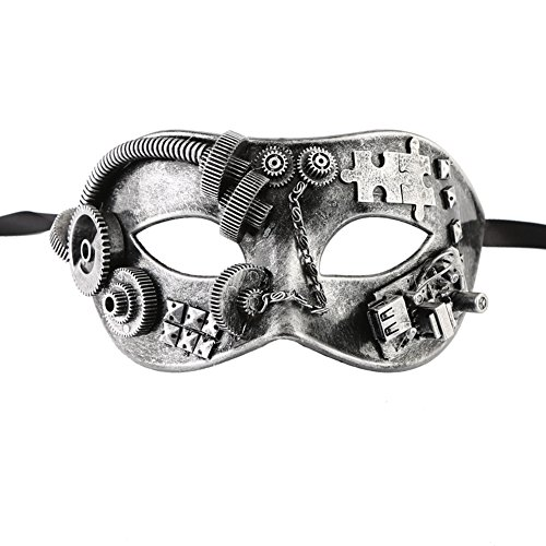 Xvevina Mens Steampunk Half Face Mechanical Gears Venetian Masquerade Mask Ball Dance