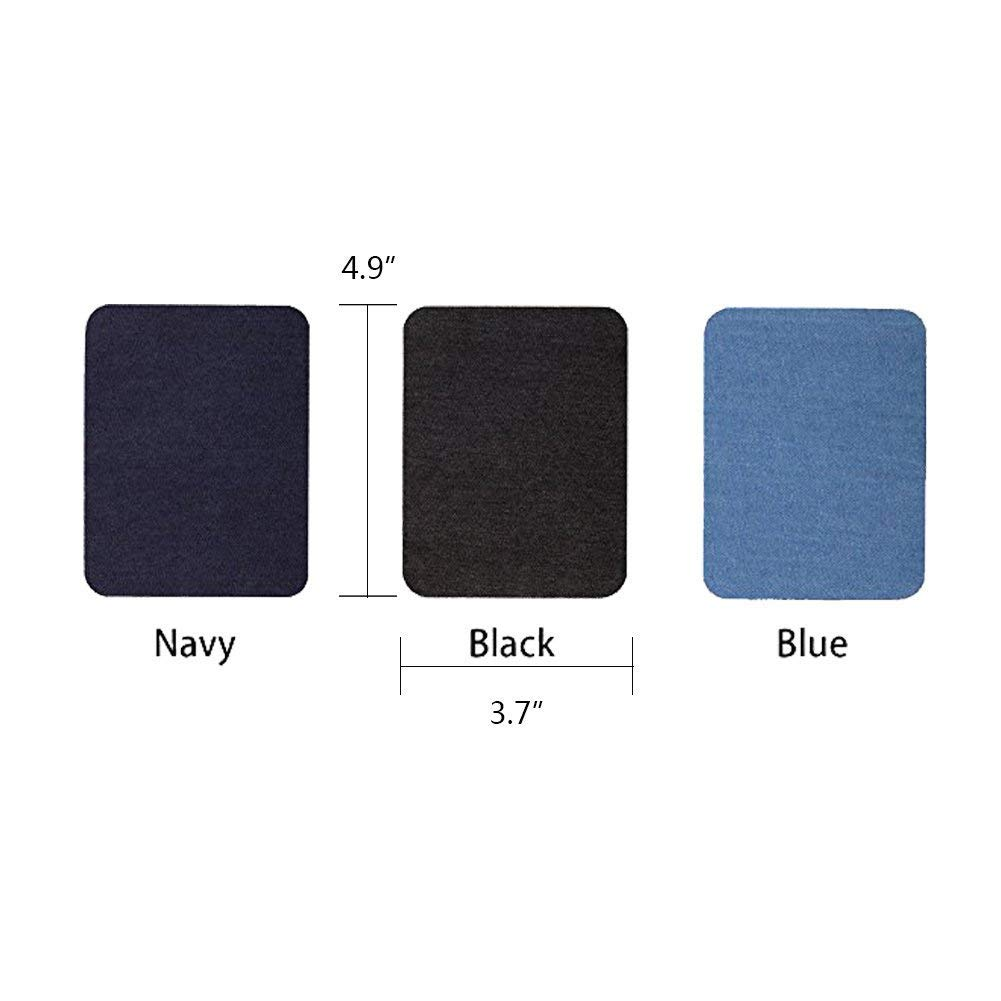 18 Pcs Iron On Denim Patches,No-Sew Shades Patches,Iron-on Repair Patches Kit for Clothing Jeans, 3 Colors (4.9 x 3.7 inch)