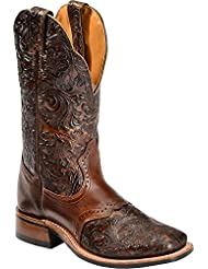 Boulet Womens Hand Tooled Dankan Ranger Cowgirl Boot Square Toe - 2050