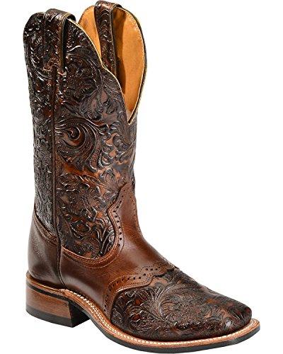 Boulet Women's Hand Tooled Dankan Ranger Cowgirl Boot Square Toe Brown 7 W US