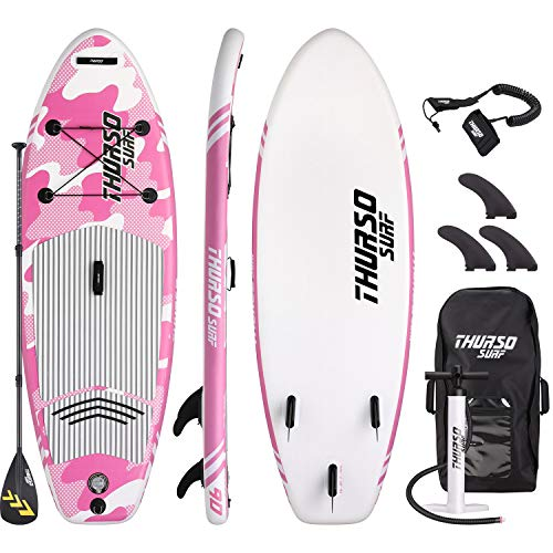 THURSO SURF Prodigy Junior Kids Inflatable SUP Stand Up Paddle Board 7'6 x 30'' x 4'' Two Layer Includes Adjustable Carbon Shaft Paddle/3 Fins/Leash/Pump/Backpack (Pink)