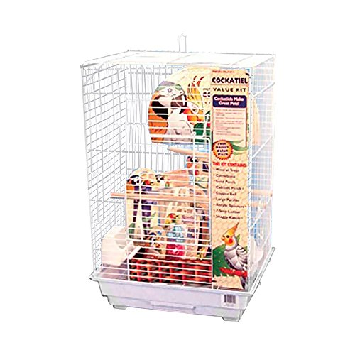 Penn Plax Cockatiel Bird Cage Starter Kit, 27 Inch Cage with Kabob Toy, Cuttlebone, Treat, and Wood Perch (Starter Bird Cage)