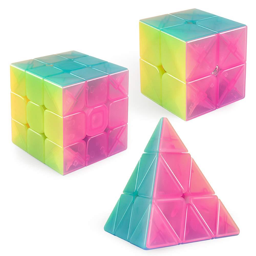 D-FantiX Qiyi Jelly Speed Cube Set, Qiyi Qidi S 2x2 Qiming Pyramid 3x3x3 Warrior W 3x3 Stickerless Magic Cube Bundle Puzzle Toys by D-FantiX