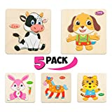 Wooden Puzzles for Toddlers - New set of 5 toddler jigsaw puzzles - Puzzles for Toddlers age 3+ Toddlers Puzzles for Boys and Girls - PETS set - Cat - Dog - Horse - Rabbit - Cow - 2018 NEW (41 pcs)