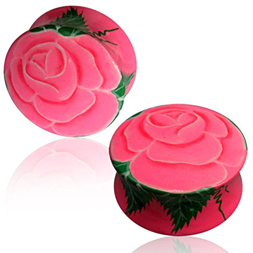 - Comfort Zone Studios 14 MM (9/16) Organic Crocodile Wood Hand Painted Pink Floral Rose Double Flared Saddle Ear Plugs, Pair