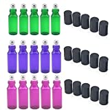5ml Glass Refillable Bottles with Stainless Steel Roller Balls, Set of 15 for Aromatherapy, Essential Oils, Perfumes, Lip Balms (5Pcs Green, 5Pcs Pink, 5Pcs Violet Colored)