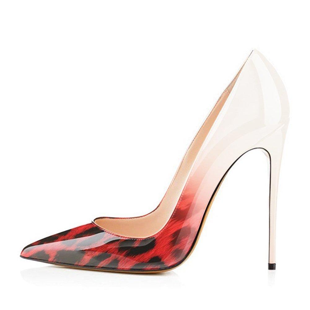 UMEXI UMEXI UMEXI Women Pointed Toe High Heels Slip on Stilettos Wedding Party Dress Shoes Plus Size Pumps B077CJ48N2 5|Red Leopard to White 51c900
