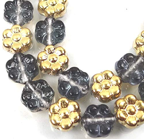 ShopForAllYou Decoration Beads 25 Czech Glass Daisy Flower Beads - Gold/Montana Blue 8mm