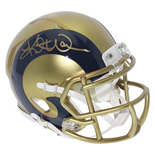 Kurt Warner St  Louis Rams Autographed Blaze Alternate Mini Helmet   Jsa Authentic