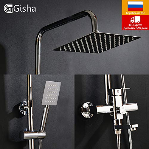 BIG-DEAL_Bathroom Rainfall Shower Faucets Set Brass Single Handle Mixer Tap Wall Mounted Bath Showers Sets Column Panel G5004 - ( Color:G5004-B; Ships from:China )