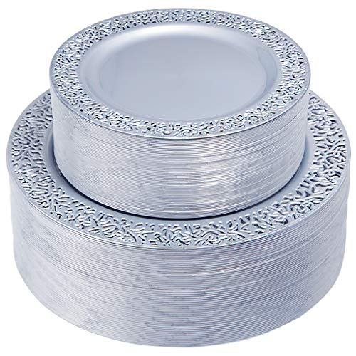 IOOOOO 102 Pieces Gray Plastic Plates, Lace Rim Disposable Party Plates, Premium Heavyweight Plates Includes: 51 Dinner Plates 10.25 Inch and 51 Salad / Dessert Plates 7.5 Inch]()