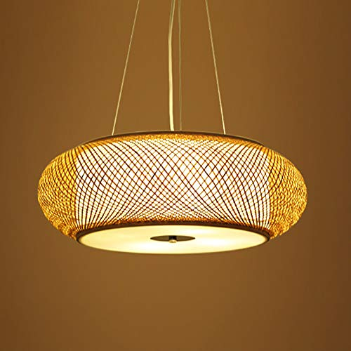 Retro Style Lantern Pendant Lamp, Bamboo Lampshade, Bedroom Living Room Ceiling Chandelier Teahouse Dining Room Bamboo Lamp Bar Cafe Club Single Head Hanging Lamp, E27,60cm