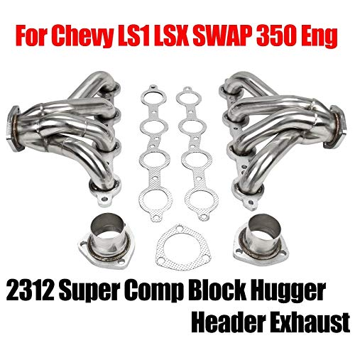 Fit For Chevy LS1 LS6 Block Hugger Exhaust Header Stainless Steel Manifold Exhaust Block Hugger Headers Fit