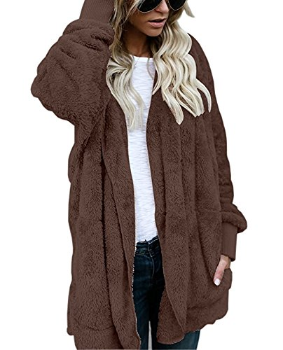 Yanekop Womens Winter Open Front Loose Hooded Fleece Sherpa Jacket Cardigan Coat Coffee M