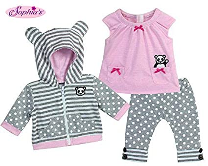 Sophias 15 Inch Baby Doll Outfit in Pink & Gray, Complete 3 Pc Set Includes Panda Bear Tunic, Leggings & Sweatshirt Panda for Bitty Baby & More!