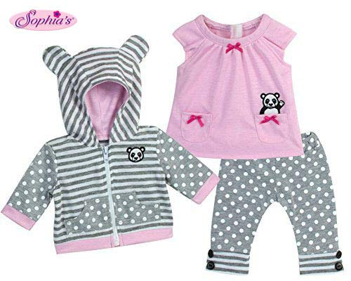(Sophia's 15 Inch Baby Doll Outfit in Pink & Gray, Complete 3 Pc Set Includes Panda Bear Tunic, Leggings & Sweatshirt Panda for Bitty Baby & More! )