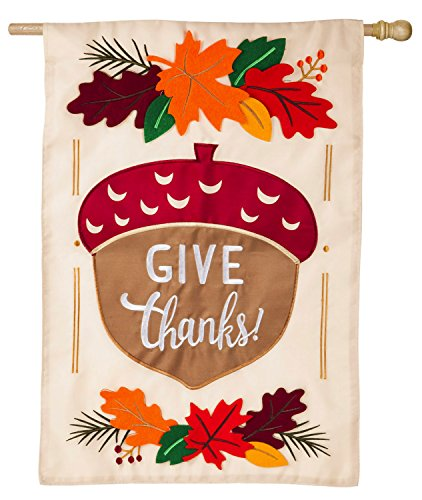 Evergreen Give Thanks Acorn Applique House Flag, 28 x 44 inc