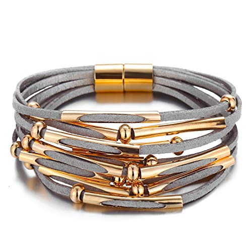 (FAXHION Grey Multi-Layer Wrap Leather Bracelet Magnet Buckle Gold Color Beads Long Strip Decoration Charm Cuff Bracelet Jewelry for Women Girl Gift)
