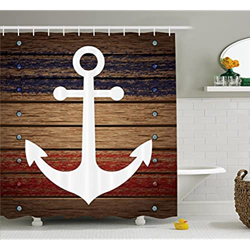 White Boat Anchor Marine Nautical Shower Curtain Set With Hooks Antiqued  Rustic Wooden Western Art View Red White Blue And Brown Coastal Bathroom  Decor