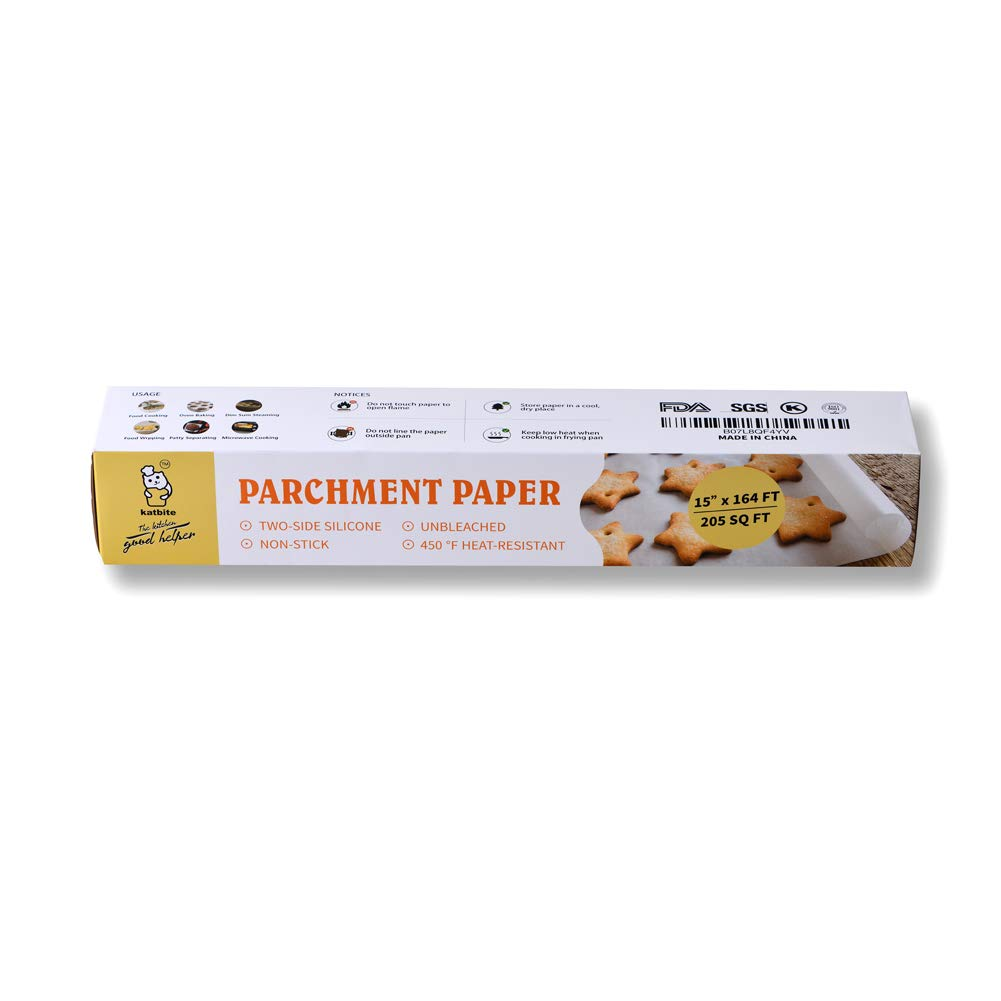 Parchment Paper Roll For Baking, Cooking-15 in x164 ft (205 SQ FT) Baking Pan Liners by katbite