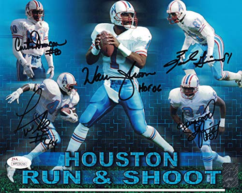 Houston Oilers Run 'n Shoot Autographed Signed 8x10 Photo 5 sigs - JSA Certified