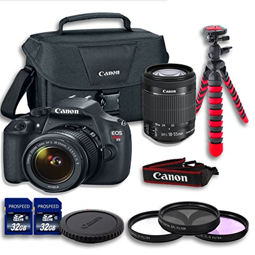 Canon T5 DSLR Camera + 18-55mm IS II Lens + Filters Kit + 2
