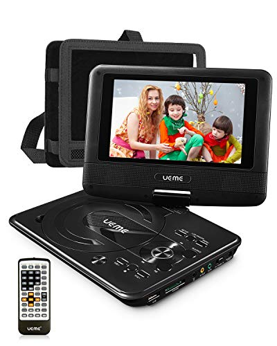 UEME Portable Minidisc Player for Kids with 7 inches Swivel Screen and Internal Rechargeable Battery, Support DVD CD SD USB Card, with Car Headrest Mount Holder, Region Free (Best Minidisc Player Recorder)