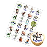 24 x Personalised Toy Story Mix Birthday Cup Cake Toppers with Any Name on Decor Real Edible Icing