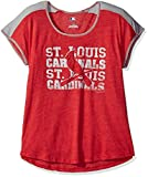 MLB St. Louis Cardinals Women's Stay on Target Fashion Top, Large, Athletic Red Heather/Steel Heather