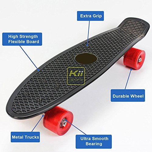 "Plastic Skateboard Penny Retro Style 22"" Mini Street Cruiser - High Strength Skate Sun Board Deck Vintage Surf with Fish Scale Grip Pattern, 60mm Smooth Polyurethane Wheels, Ultra Durable Metal Trucks and Bearings (Black) by KiiSports®"