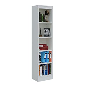 A10SHOP 5 Shelves Wooden Bookcase & Storage Cabinet Tower (Frosty White, 67inch)