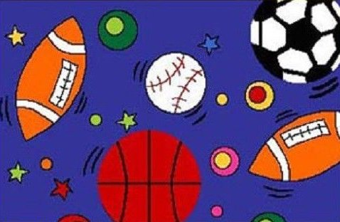 7' 1''X 10' 3'' Kids Children Sports Theme In Blue Room Bedroom Sport Rug Non Skid