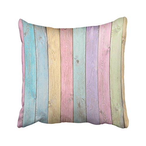 Emvency Blue Aged Colorful Pastel Wood Planks Green Back Color Fence Horizontal Light Natural Old Throw Pillow Cover Covers 18x18 Inch Decorative Pillowcase Cases Case Two Side
