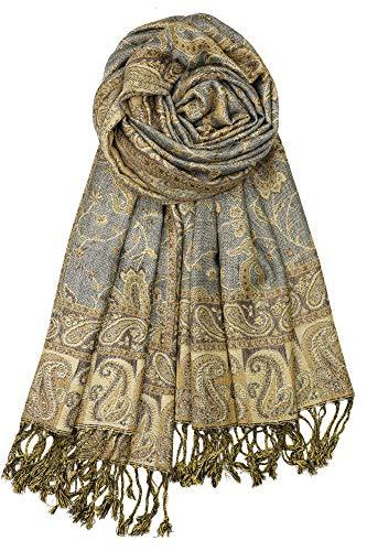 Achillea Soft Silky Reversible Paisley Pashmina Shawl Wrap Scarf w/Fringes 80 x 28 (Grey Gold)