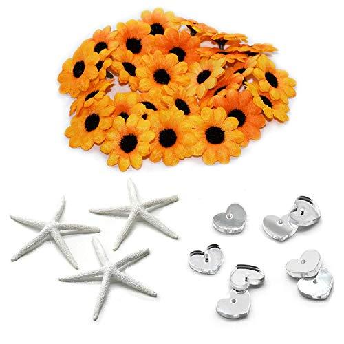 - 100pcs Mini Artificial Sunflower Fabric Flowers Fake Daisy| 4pcs White Finger Starfish 3