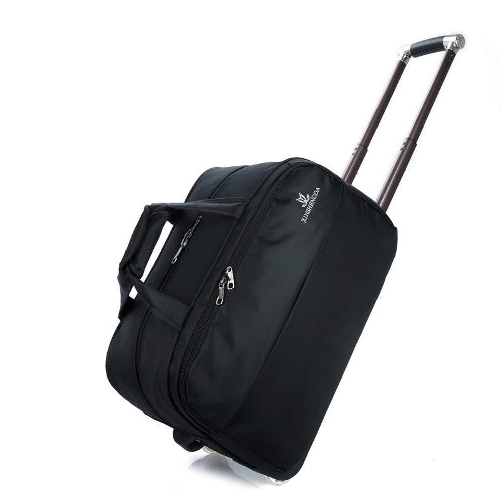 旅行かばんの女性荷物袋の男性の大容量のトロリー袋、ハンドバッグの偶然の折る搭乗袋旅行袋 (Color : Black, Size : 49*29*27cm) B07SWV8MPQ Black 49*29*27cm