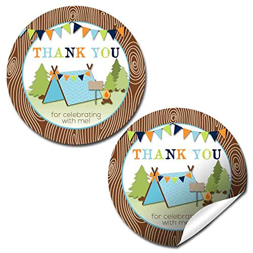 Camping Boy Birthday Party Thank You Sticker Labels, 40 2