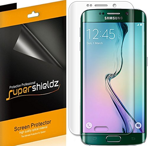 (2 Pack) Supershieldz for Samsung Galaxy (S6 Edge) Screen Protector, (Full Screen Coverage) (3D Curved PET) High Definition Clear Shield
