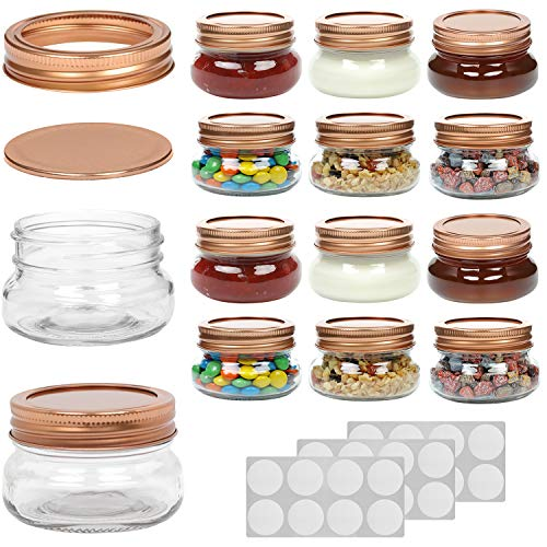 WILLDAN Set of 12-4 OZ Mason Jars With Regular Lids Rose Gold Edition - Ideal for Body Scrubs, Lotions, Jam, Honey, Wedding Favors, Shower Favors, Baby Foods, 20 Whiteboard Labels Included